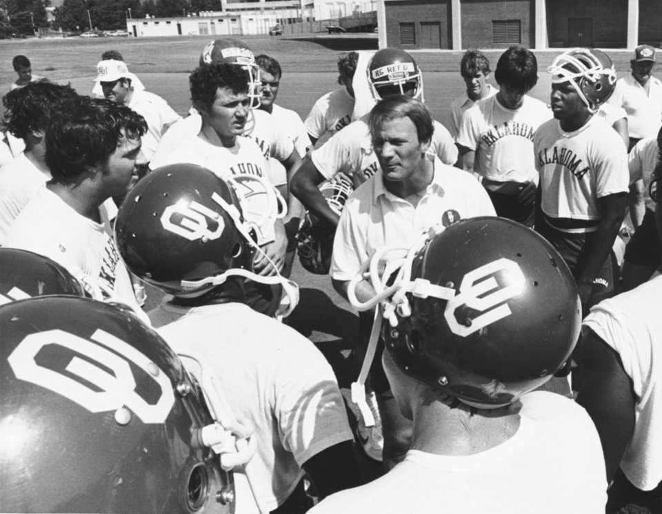 <strong>1982: Switzer and the troops</strong><br>  In this photo from early August 1982, Switzer addresses the newest Sooners prior to the start of practice. PHOTO BY BOB ALBRIGHT, The Oklahoman Archives