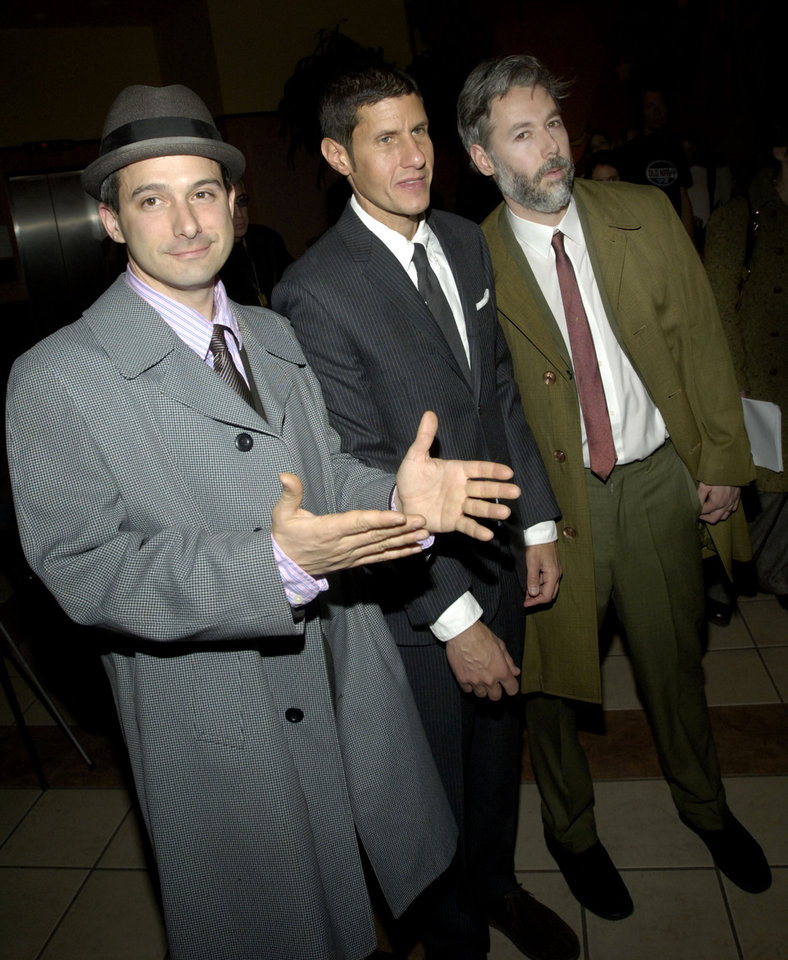 Photo -   FILE - In this March 28, 2006 file photo, members of the Beastie Boys, from left, Adam Horovitz, known as Adrock, Michael Diamond, known as Mike D and Adam Yauch, known as MCA, arrive at the premiere of their new film