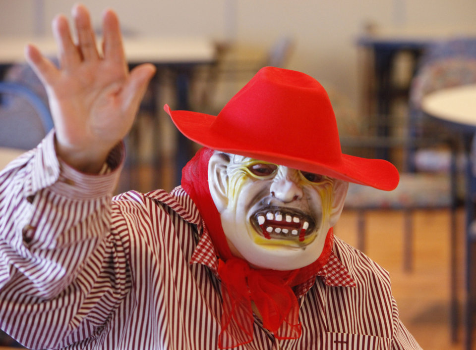 Erldeen Brokaw is ready for Halloween and some trick-or-treat bingo at the Edmond Senior Center.