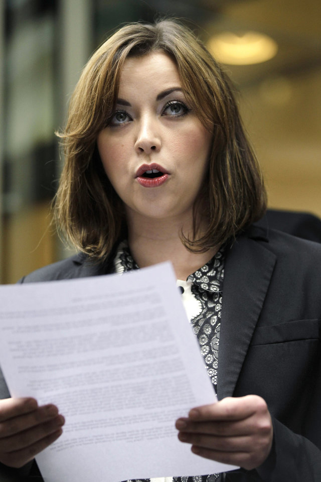 FILE- In this Feb. 27, 2012, file photo, singer Charlotte Church speaks to reporters outside the High Court in London after hearing the reading of a statement setting out the terms of the settlement for phone hacking damages claim against News International. Lord Justice Brian Leveson will release his report, Thursday Nov. 29 2012, on a year-long inquiry into the culture and practices of the British press and his recommendations for future regulation to prevent phone hacking, data theft, bribery and other abuses. (AP Photo/Sang Tan, File)