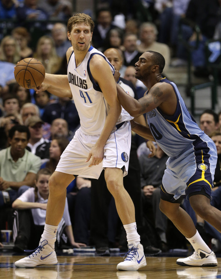 Dallas Mavericks power forward Dirk Nowitzki (41), of Germany, dribbles against Memphis Grizzlies power forward Zach Randolph (50) during the first half of an NBA basketball game on Saturday, Jan. 12, 2013, in Dallas. (AP Photo/LM Otero)