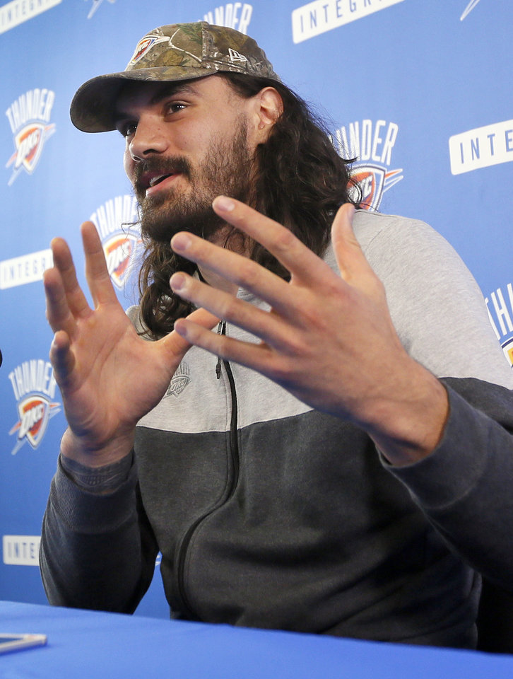 Photo - Steven Adams speaks to the media during exit interviews for the Oklahoma City Thunder at the Integris Thunder Development Center in Oklahoma City, Wednesday, April 26, 2017. Photo by Nate Billings, The Oklahoman