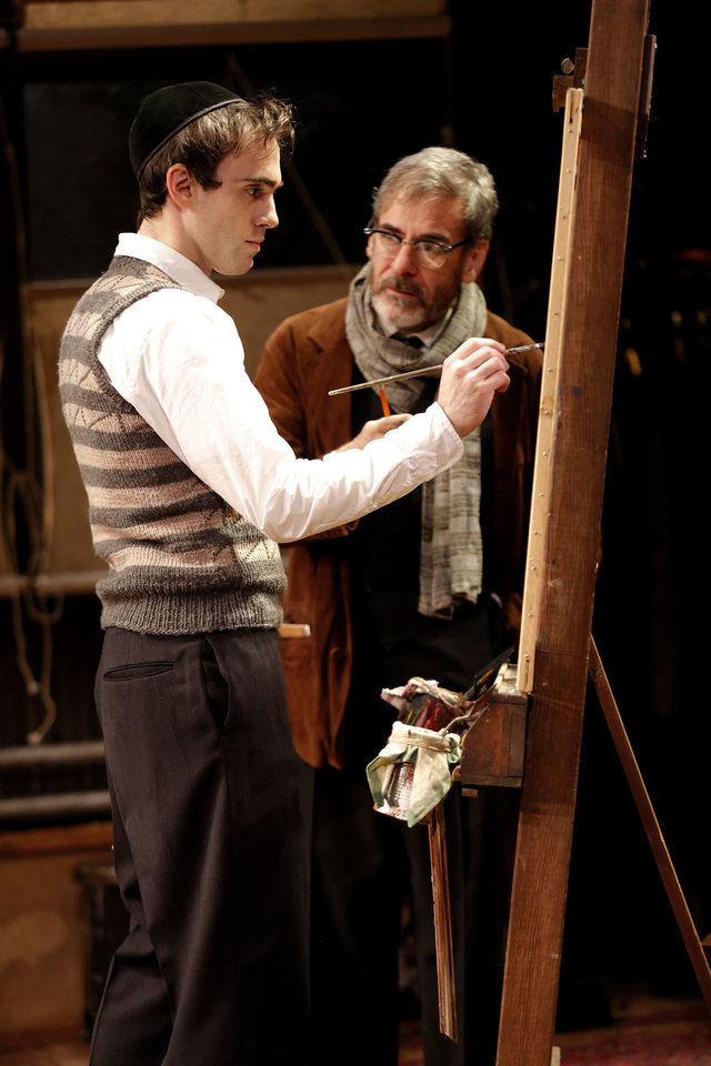 In an undated handout photo provided by Keith Sherman and Associates, Ari Brand, left, and Mark Nelson in a scene from �My Name Is Asher Lev,� currently performing off-Broadway at the Westside Theatre in New York. (AP Photo/Keith Sherman and Associates, Joan Marcus)