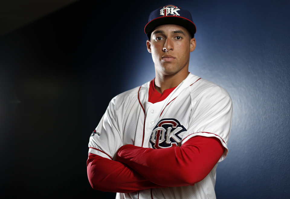 Photo - George Springer poses for a photo during the Oklahoma City Redhawks media day, Tuesday, April 01, 2014, in Oklahoma City. Photo by Sarah Phipps, The Oklahoman