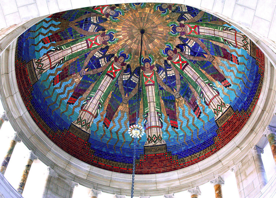 "Photo - This 2009 photo provided by Hildreth Meiere Dunn shows the Nebraska State Capitol Rotunda Dome in Lincoln decorated by the photographer's grandmother, Art Deco muralist Hildreth Meiere. While Meiere's name has been largely forgotten, her works abound throughout the country. ""The Art Deco Murals of Hildreth Meiere,"