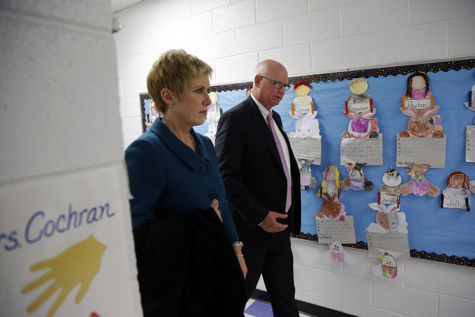 Photo - Left: State schools Superintendent Janet Barresi tours Bethany School District campuses Tuesday with Bethany Superintendent Kent Shellenberger. Photos by Sarah Phipps,  The Oklahoman
