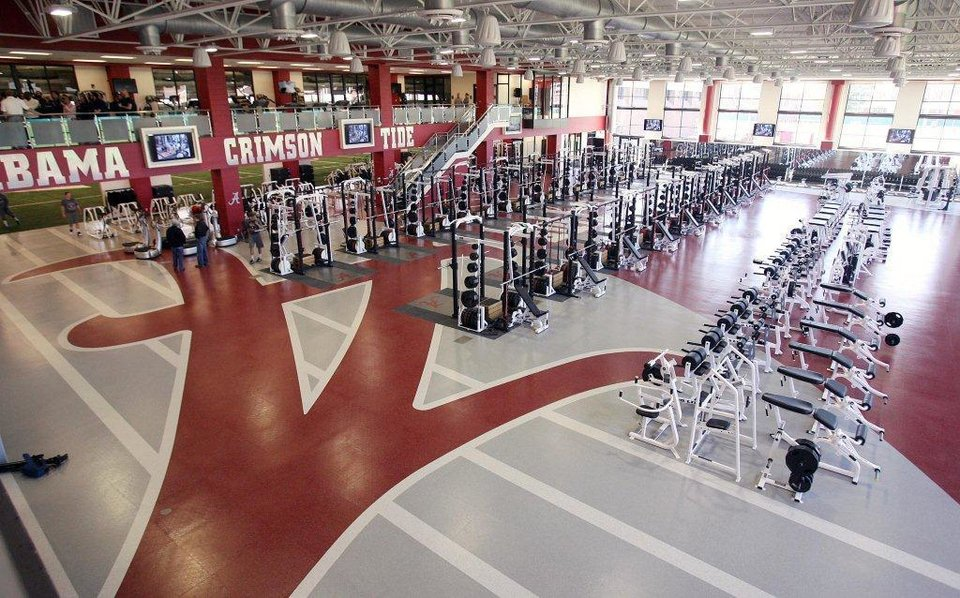 A look at Alabama's weight room, a two-story facility that includes 20 combination racks. PHOTO PROVIDED BY THE TUSCALOOSA (ALA.) NEWS