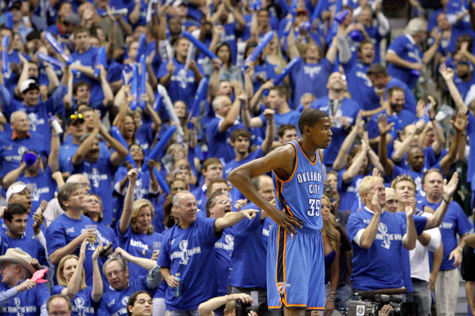 Oklahoma City's Kevin Durant (35) stands in front of the crowd during game 5 of the Western Conference Finals in the NBA basketball playoffs between the Dallas Mavericks and the Oklahoma City Thunder at American Airlines Center in Dallas, Wednesday, May 25, 2011. Photo by Bryan Terry, The Oklahoman