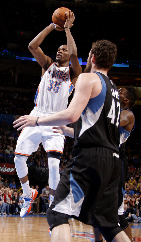 Oklahoma City's Kevin Durant (35) shoots the ball during the NBA basketball game between the Oklahoma City Thunder and the Minnesota Timberwolves at Chesapeake Energy Arena in Oklahoma City, Friday, March 23, 2012. Photo by Bryan Terry, The Oklahoman