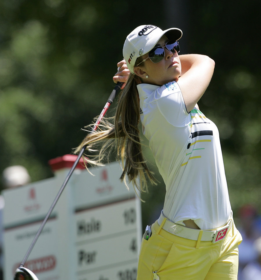 Photo -   Paula Creamer tees off on 10th hole during the first round of the Mobile Bay LPGA Classic golf tournament, Thursday April 26, 2012, in Mobile, Ala. (AP Photo/ Press-Register, Victor Calhoun) MAGS OUT