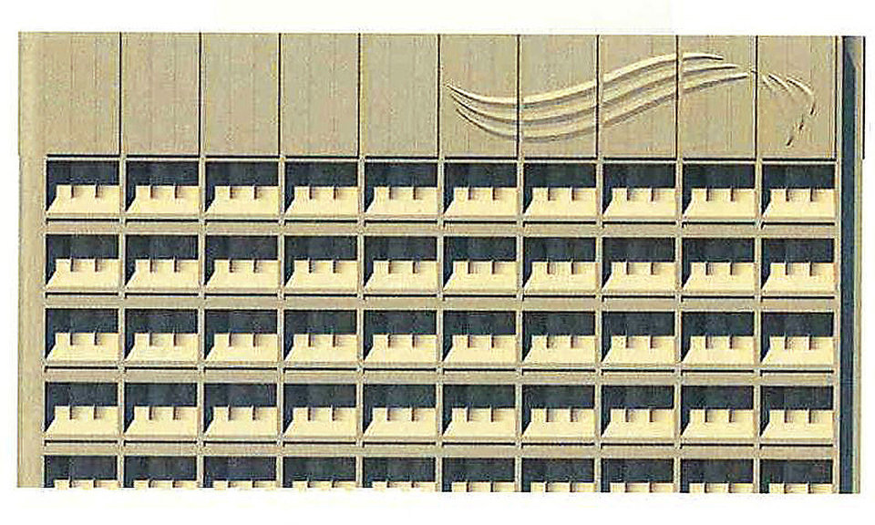 Photo - SandRidge Energy Inc.'s swooping logo could soon be added to the top of the 29-story SandRidge Tower. Company representatives declined to comment on the application submitted to the Oklahoma City Planning Department for an upcoming review by the Downtown Design Review Committee. The placement of the logo would mark SandRidge Energy's first branding via signage on the former Kerr-McGee headquarters since SandRidge bought the property in 2006. Drawing provided