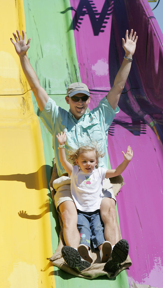 Richard Wedel and his daughter Isabella Wedel, 3, of Norman, OK, go down the Super Slide at the State Fair of Oklahoma Monday, Sept. 15, 2008. BY JACONNA AGUIRRE, THE OKLAHOMAN