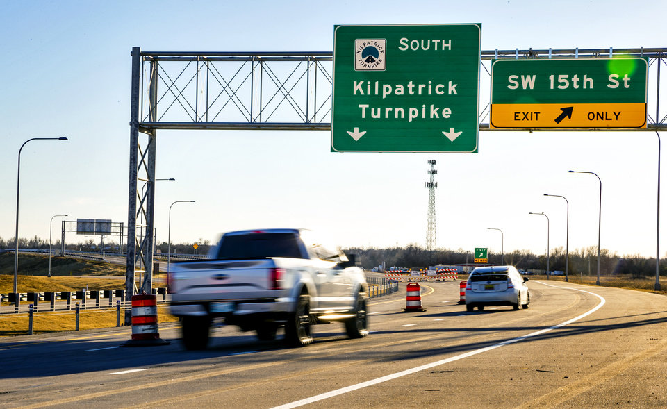 Photo - The southwest extension of the John Kilpatrick Turnpike in Oklahoma City, Okla. on Monday, Jan. 6, 2020. The new extension of the turnpike is scheduled for  partial opening on Thursday, giving a boost to southwest Oklahoma City's fast-growing warehouse and distribution center district.    [Chris Landsberger/The Oklahoman]