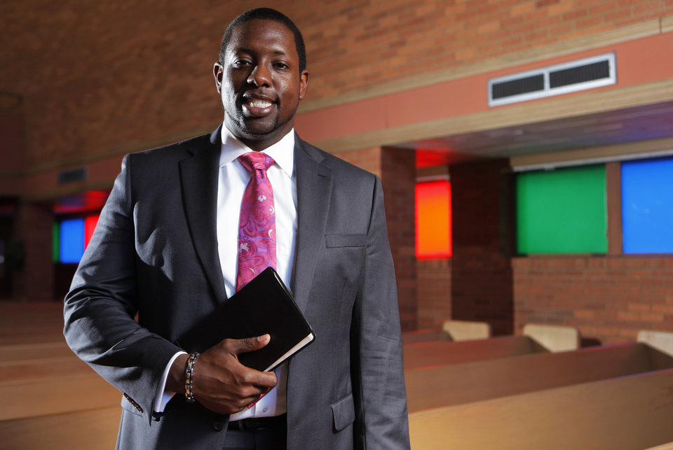 Semaj Vanzant, the new pastor at Christ United Methodist Church, poses for a photo at his church in Oklahoma City, Monday, July 2, 2012.  Photo by Garett Fisbeck, The Oklahoman