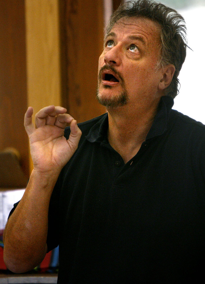 Photo - John de Lancie instructs the Oklahoma Arts Institute acting students June 16, 2009 at the Quartz Mountain Arts Institute and Conference Center.  De Lancie has been involved in many genres of art including film, television, orchestral music, opera and theater.  Photo by Ashley McKee, The Oklahoman   ORG XMIT: KOD