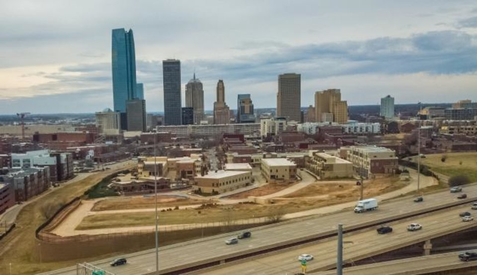 Photo -  Construction of The Hill, shown here looking west toward downtown, is set to resume this summer after being stalled since 2018 when developer Bill Canfield was declared in default of deadlines agreed to with the Oklahoma City Urban Renewal Authority. [DAVE MORRIS/THE OKLAHOMAN]