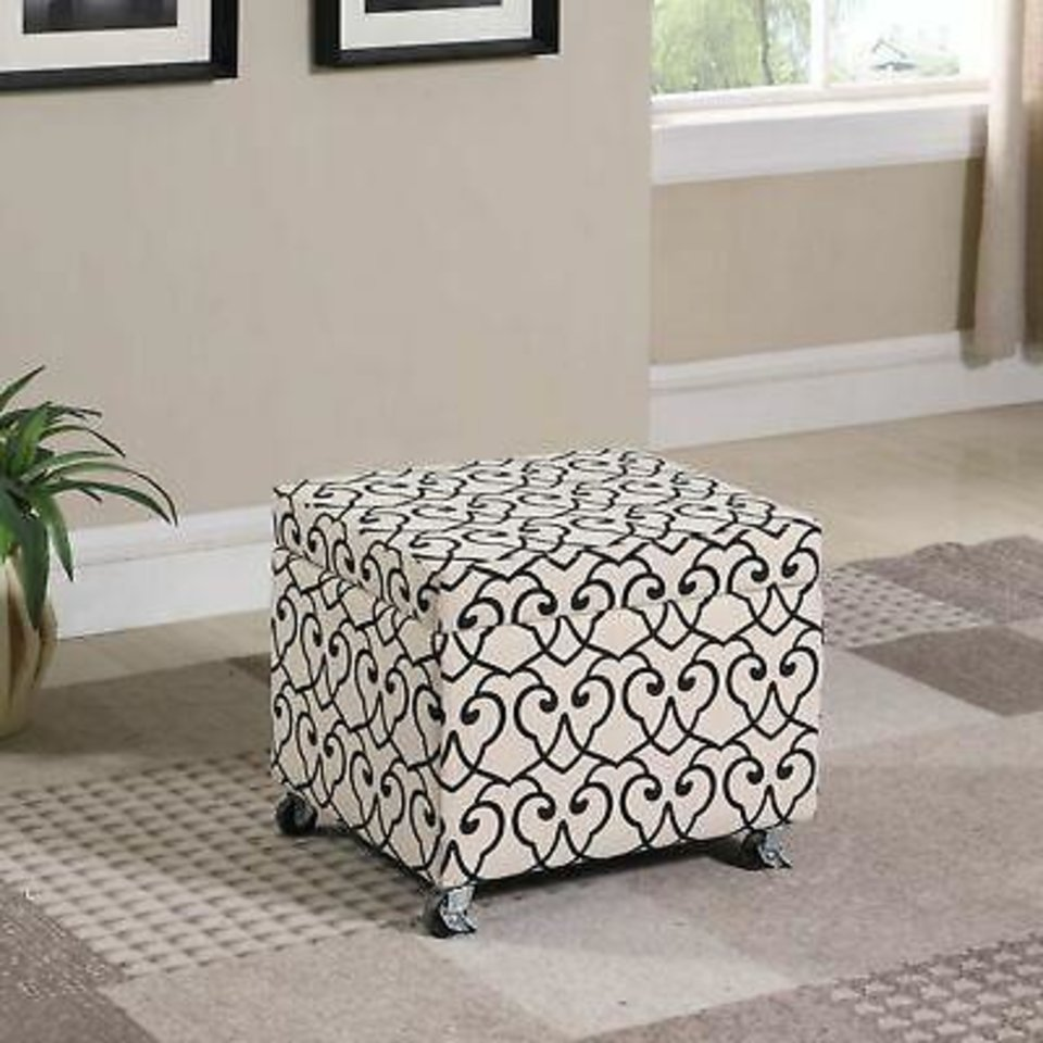 Photo -  Beige Moroccan Heart Black Stencil Filing Storage Ottoman ($156, bkoog.com). [HOME DEPOT]