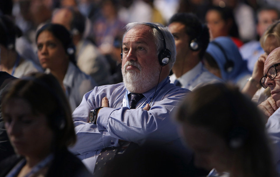 Photo - European Union Commissioner for Climate Action and Energy Miguel Arias Canete, from Spain, attends the U.N. Climate Change Conference in Lima, Peru, Saturday, Dec. 13, 2014. Already well into overtime, U.N. climate talks reached a standstill Saturday as developing countries rejected a draft deal they said would allow rich countries to shirk their responsibilities to fight global warming and pay for its impacts. (AP Photo/Juan Karita)