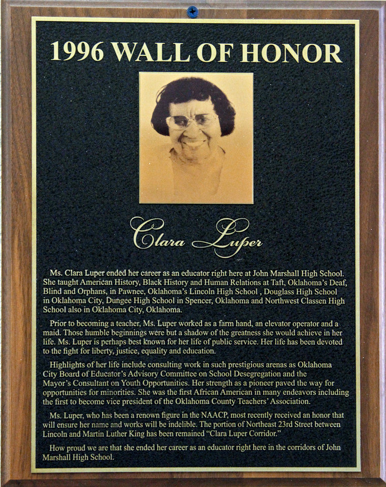 A plaque of Clara Luper hangs in the Wall of Honor at John Marshall High School on Friday, March 30, 2012, in Oklahoma City, Okla. Photo by Chris Landsberger, The Oklahoman