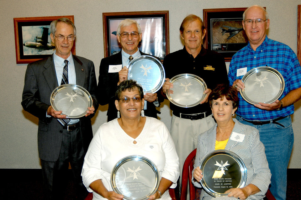 (back row) Dr. Terry Britton, Keith Thrasher, Steve Reeves, Dr. Bill Callaway; and (front row) Gwen Loftis and Gail Austin were six of 40 Rose State employees honored on August 16 for their years of service. Community Photo By: Steve Reeves Submitted By: natalie,