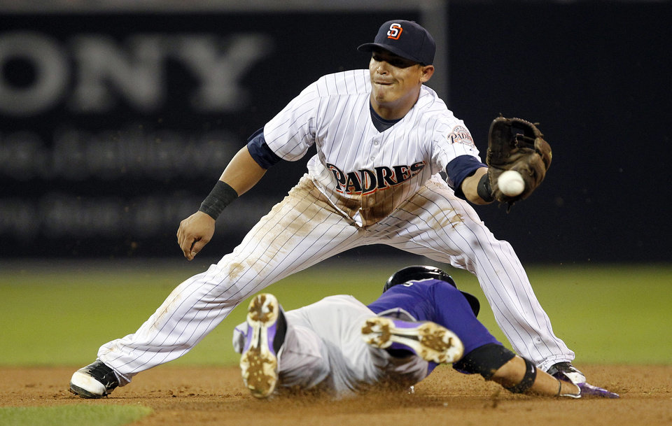 Photo -   San Diego Padres shortstop Everth Cabrera can't handle the throw, as Colorado Rockies' Carlos Gonzalez, below, steals second base during the seventh inning of their baseball game in San Diego, Calif., Friday, Sept. 14, 2012. (AP Photo/Alex Gallardo)