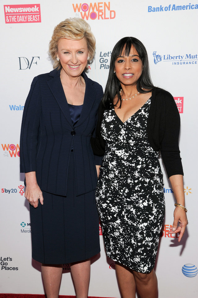 Photo - Editor-in-chief of The Daily Beast and Newsweek, Tina Brown, left, and Vice President for Democracy, Rights and Justice at the Ford Foundation, Maya Harris, attend the 4th Annual Women in the World Summit at the David H. Koch Theater on Thursday, April 4, 2013, in New York. (Photo by Evan Agostini/Invision/AP)