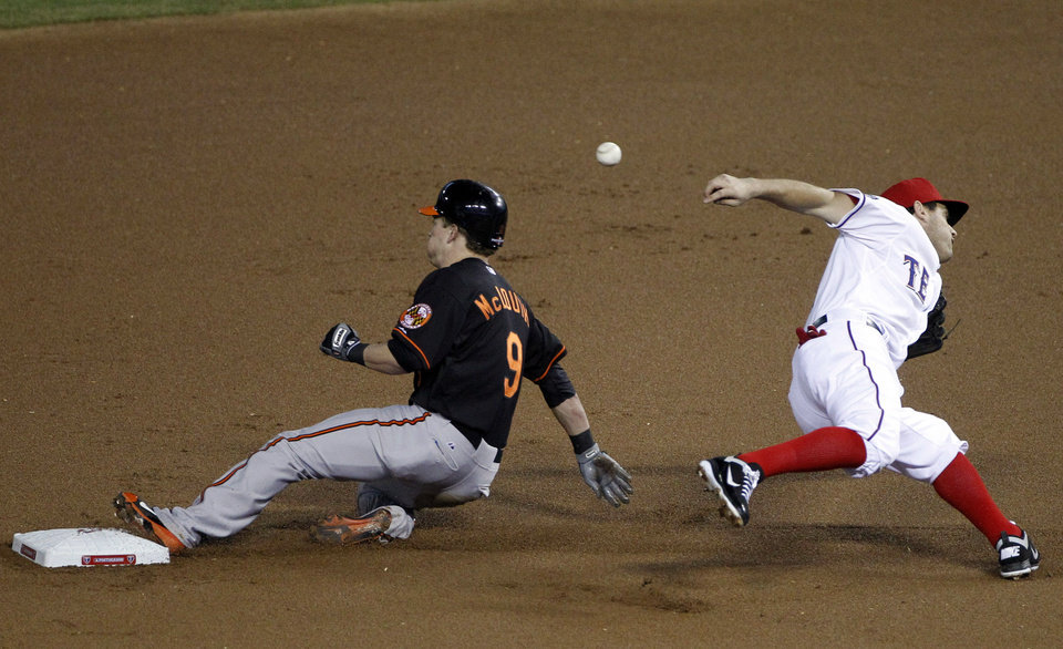 Photo -   Baltimore Orioles' McLouth (9) steals second base as Texas Rangers second baseman Ian Kinsler misses the throw during the first inning of an American League wild-card playoff baseball game Friday, Oct. 5, 2012, in Arlington, Texas. (AP Photo/Tony Gutierrez)