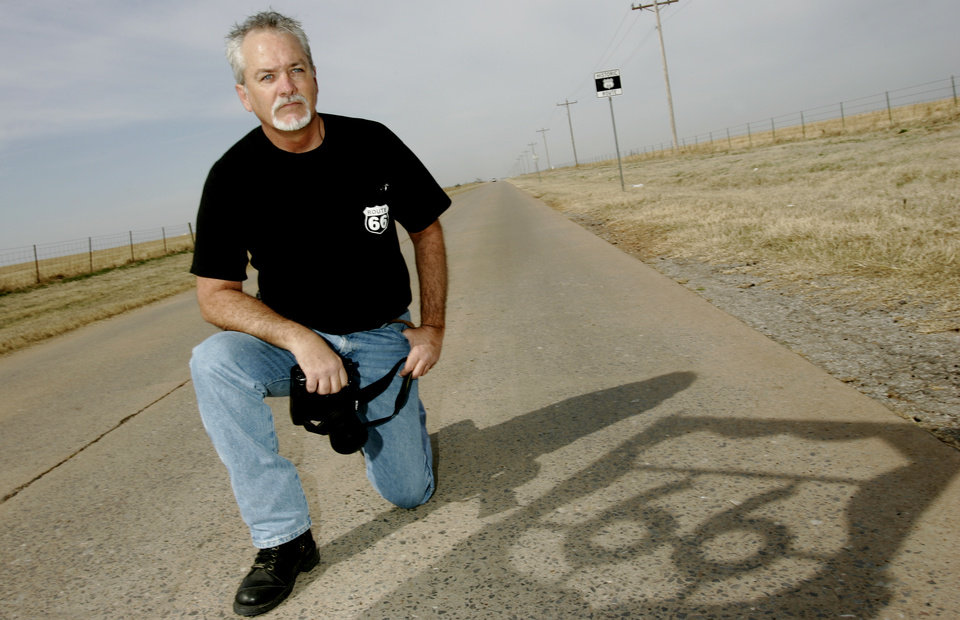 Photo - PHOTOGRAPHER: Larry Nance has photographed Route 66 to help its preservation and has a stencil to mark the road. Photo taken Friday, March 14, 2008  in El Reno, Ok. BY JACONNA AGUIRRE/THE OKLAHOMAN. ORG XMIT: KOD