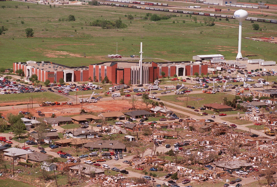 Tornado damage, aerial view: Looking North at the First Baptist Church of Moore.