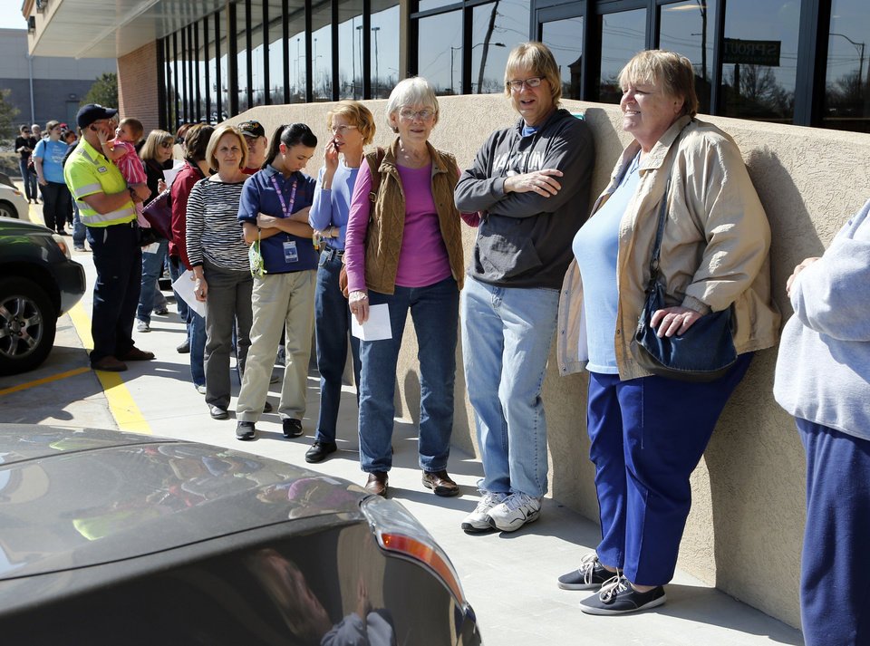 Potential customers line up Tuesday for a preview party at the new Sprouts Farmers Market in Norman. PHOTO BY STEVE SISNEY, THE OKLAHOMAN <strong>STEVE SISNEY</strong>