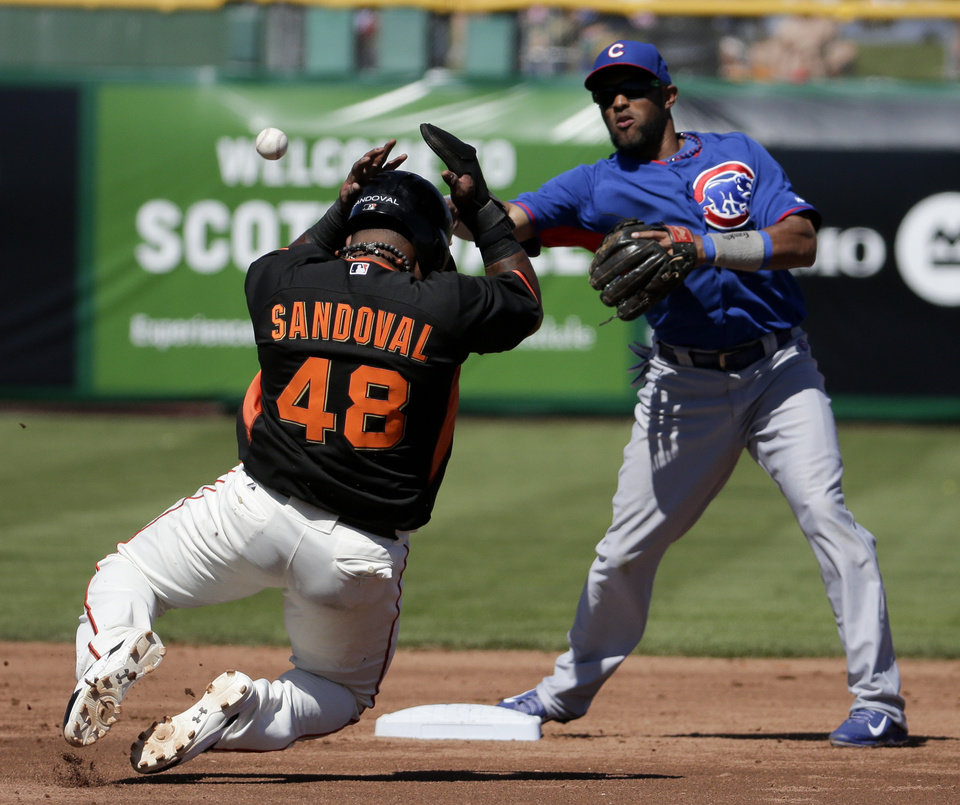 Photo - San Francisco Giants' Pablo Sandoval is forced out by Chicago Cubs shortstop Emilio Bonifacio after Tony Abreu hit into a double play during the second inning of a spring exhibition baseball game in Scottsdale, Ariz., Monday, March 10, 2014. (AP Photo/Chris Carlson)
