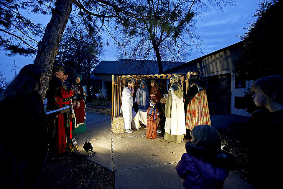People visit a living nativity scene Dec. 16 at New Covenant Christian Church (Disciples of Christ) in Oklahoma City.  PHOTO BY BRYAN TERRY, THE OKLAHOMAN