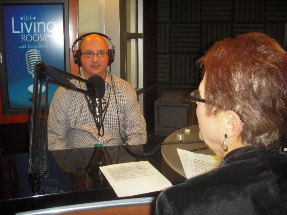 """Photo -  Sam Bracken and Gerry Bonds are shown recording """"The Living Room with Gerry Bonds."""" -  Provided Photo"""