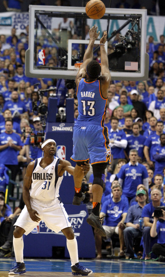 Oklahoma City\'s James Harden (13) shoots over Jason Terry (31) of Dallas during game 2 of the Western Conference Finals in the NBA basketball playoffs between the Dallas Mavericks and the Oklahoma City Thunder at American Airlines Center in Dallas, Thursday, May 19, 2011. Photo by Bryan Terry, The Oklahoman