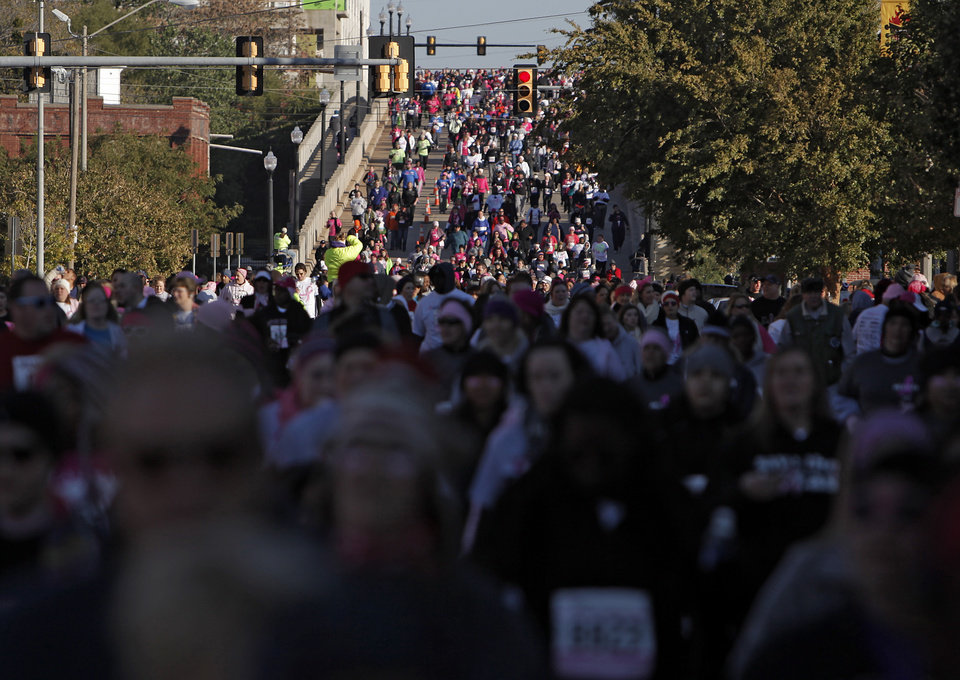 Survivors and supporters participate during the 19th Annual Oklahoma City Race for the Cure at Chicasaw Bricktown Ballpark in Oklahoma City, Saturday, Oct. 27, 2012.  Photo by Garett Fisbeck, The Oklahoman
