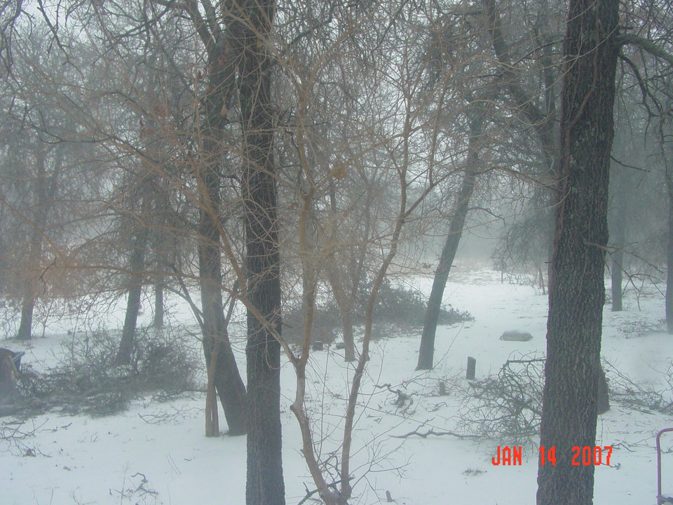 Misty snow falling! Lots of sleet! NE 122nd and Harrah Road. Snow falling around 10:30 am then turned back into sleet! No freezing rain at this time.<br/><b>Community Photo By:</b> Michelle LaPach<br/><b>Submitted By:</b> Michelle, Luther