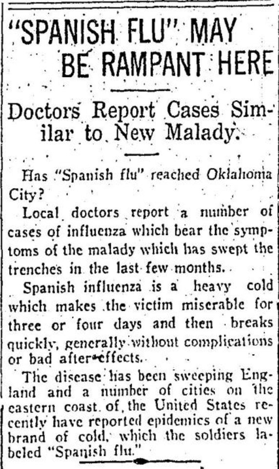 Photo -  A report on the cover of The Daily Oklahoman's editions for Sept. 16, 1918, warned of the flu.