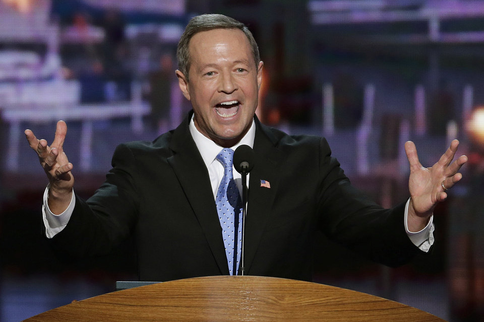 Photo -   In this Sept. 4, 2012, photo, Maryland Gov. Martin O'Malley addresses the Democratic National Convention in Charlotte, N.C. President Barack Obama may face the voters in two months, but several Democrats are already laying the groundwork for a future White House run. Up-and-coming Democratic stars like O'Malley, Virginia Sen. Mark Warner, Booker and others are making the rounds before state delegations and at private events surrounding the Democratic National Convention in Charlotte. (AP Photo/J. Scott Applewhite)