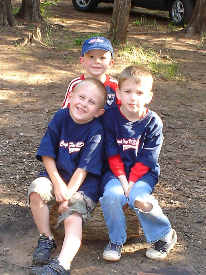This photo of Hayden Hirzel and Adam Deter, front and Landon Hirzel, back, recently won a photo contest to be on a Camp Fire USA candy box this year.  Your family can join the fun of Camp Fire, too, by attending the Recruitment meeting scheduled for:  ·	Tuesday, September 4th, 6:30 to 7:30 p.m., at the Legion Park Pavilion (900 W. Ash)  Call 478-5646 for more information about a meeting near you.<br/><b>Community Photo By:</b> Keri Weuste<br/><b>Submitted By:</b> Keri, Oklahoma City