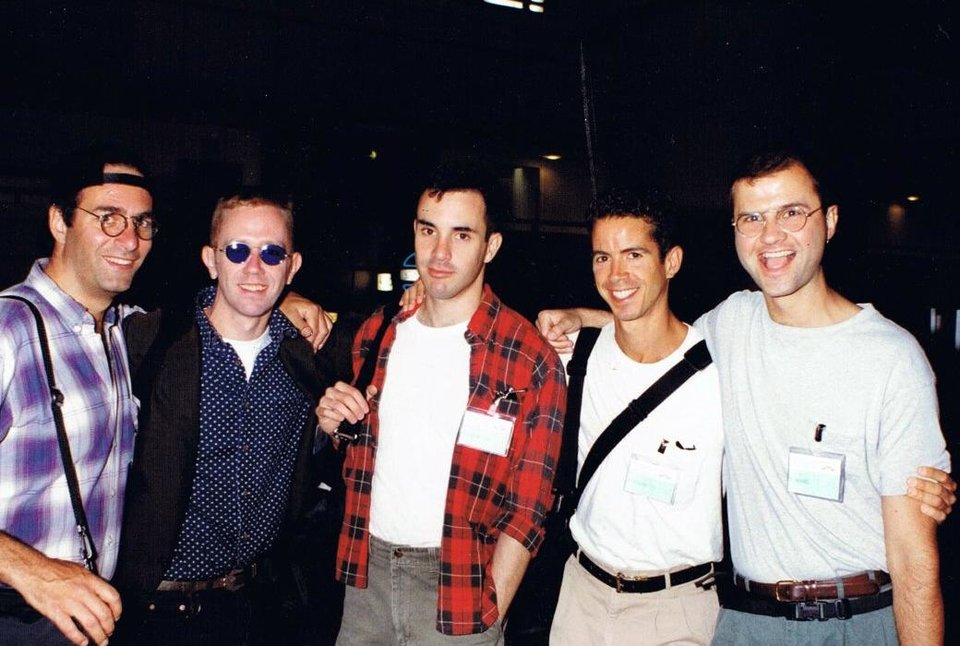 Photo - In this July 21, 1992 photo provided by Gregg Gonsalves, Gonsalves, center, poses with fellow AIDS activists David Barr, Mark Harrington, Peter Staley, and Derek Hodel during the 8th International AIDS Conference in Amsterdam, Netherlands. In the early 1990s, Gonsalves traveled to Washington to confront, provoke and challenge officials at the Food and Drug Administration. A quarter century later, he still travels to Washington, but with a very different agenda: to defend the FDA. (AP Photo/Courtesy Gregg Gonsalves)