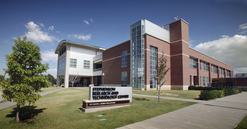 Below left: The Stephenson Research and Technology Center was one of the first additions to the University of Oklahoma Research Campus. The building opened in 2004.  Photo by Steve Sisney, The Oklahoman Archives