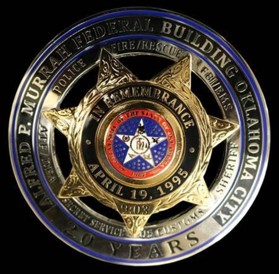 Photo -  Commemorative Alfred P. Murrah police badges will be worn by Norman officers throughout April.