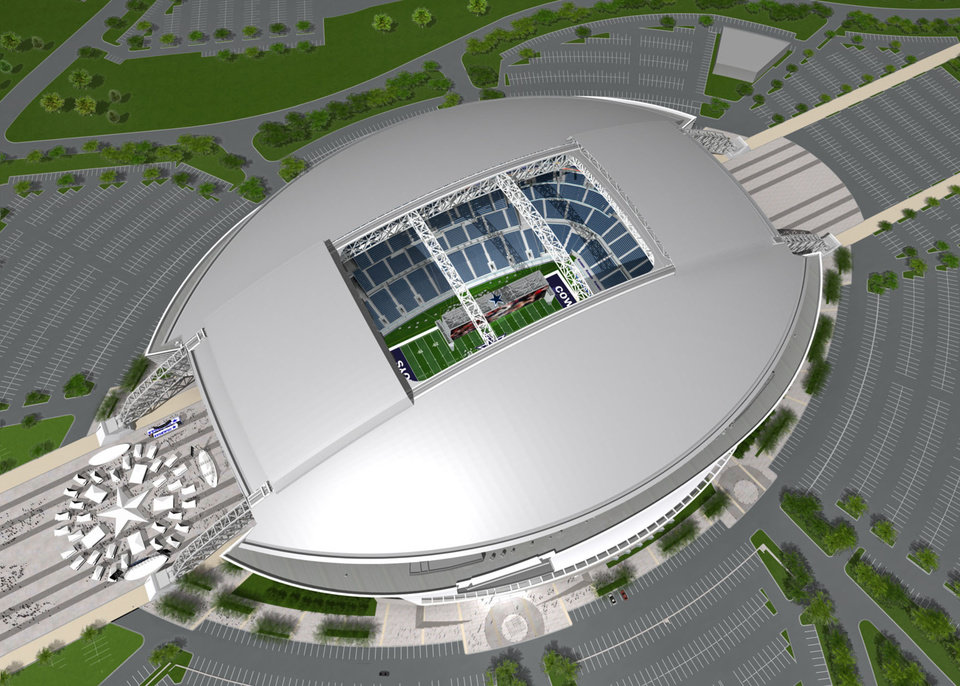 Photo - This artist's rendering, provided by the Dallas Cowboys, shows an exterior view of their new $1 billion NFL football stadium being built in Arlington, Texas. The new stadium will have a seating capacity of 80,000. (AP Photo/Dallas Cowboys) ** NO SALES ** ORG XMIT: TXDM104 ORG XMIT: 0709162138081791