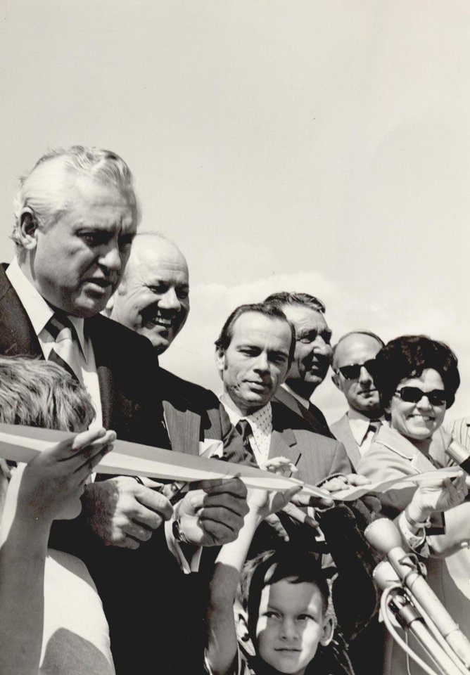 Photo - Gov. David Hall prepares to snip the ribbon formally opening the final eastern Oklahoma portion of I-40 in 1973. [The Oklahoman Archives]