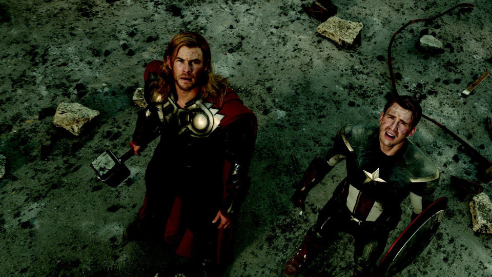 Photo - Thor (Chris Hemsworth) and Captain America (Chris Evans) appear in a scene from Marvel's