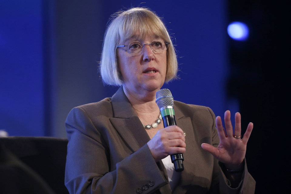 Photo - Senate Budget Committee Chair Sen. Patty Murray, D-Wash. speaks at the 2014 Fiscal Summit organized by the Peter G. Peterson Foundation in Washington, Wednesday, May 14, 2014. Lawmakers and policy experts discussed America's long term debt and economic future. (AP Photo)