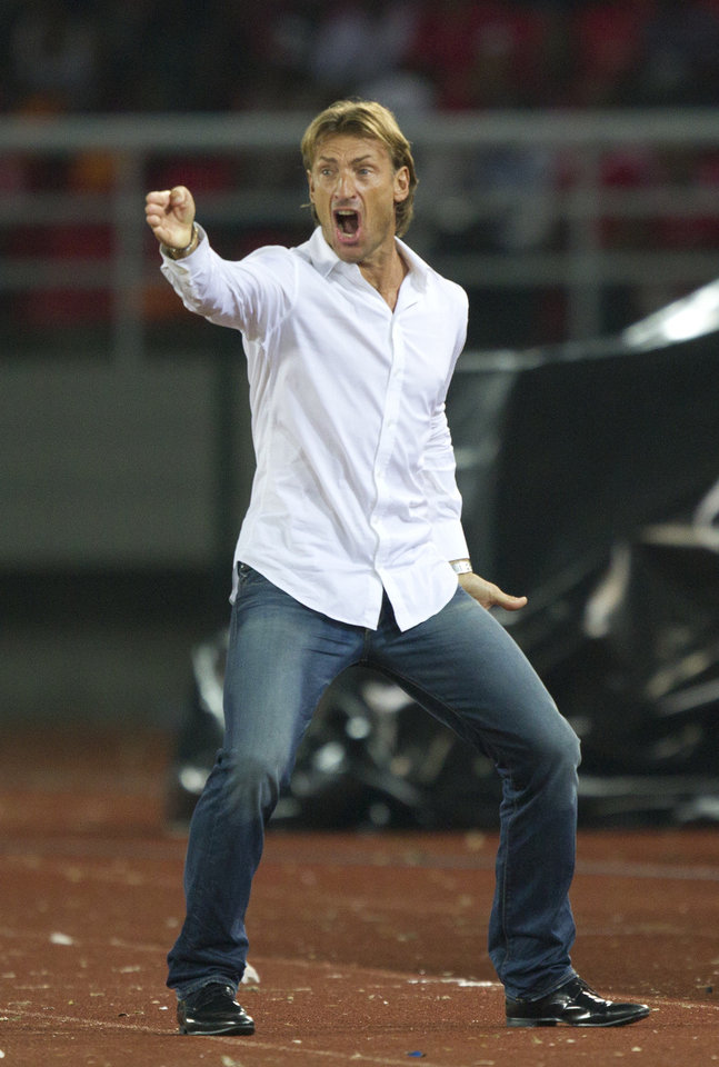 Photo - FILE - In this file photo taken Saturday, Jan. 21, 2012, Zambia's head coach Herve Renard of France screams during the African Cup of Nations Group A soccer match against Senegal in Bata, Equatorial Guinea. Renard was appointed Ivory Coast coach on a four-year deal on Thursday, July 31, 2014, succeeding compatriot Sabri Lamouchi who failed to lead the talent-filled West African team past the group stage at the World Cup in Brazil. (AP Photo/Ariel Schalit, File)