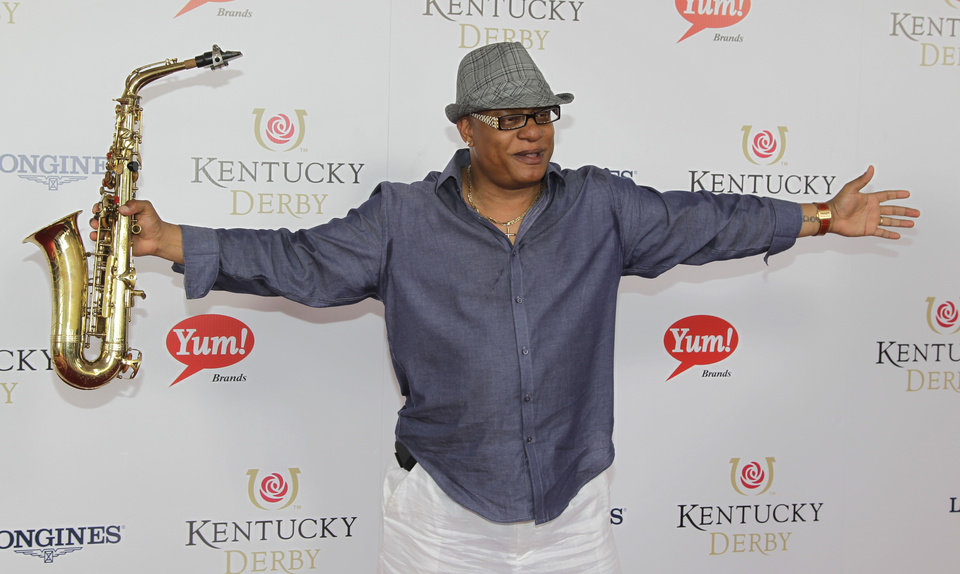 Grammy winner Ski Johnson arrives for the 138th Kentucky Derby horse race at Churchill Downs Saturday, May 5, 2012, in Louisville, Ky. (AP Photo/Darron Cummings)  ORG XMIT: DBY155