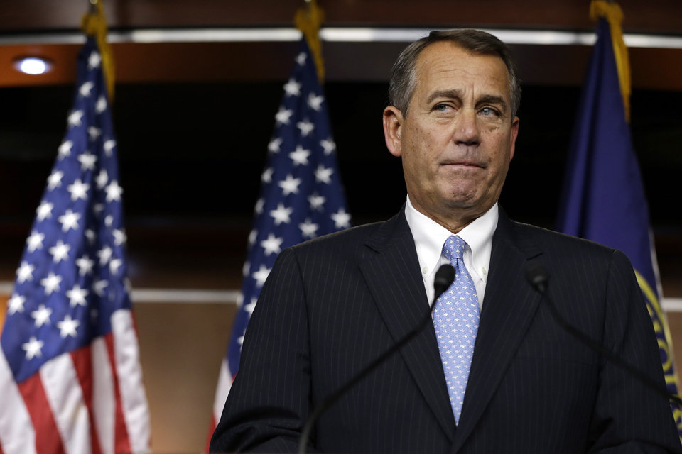 House Speaker Rep. John Boehner of Ohio, pauses while speaking to the media about the fiscal cliff on Capitol Hill in Washington, on Thursday, Dec. 20, 2012. (AP Photo/Jacquelyn Martin)