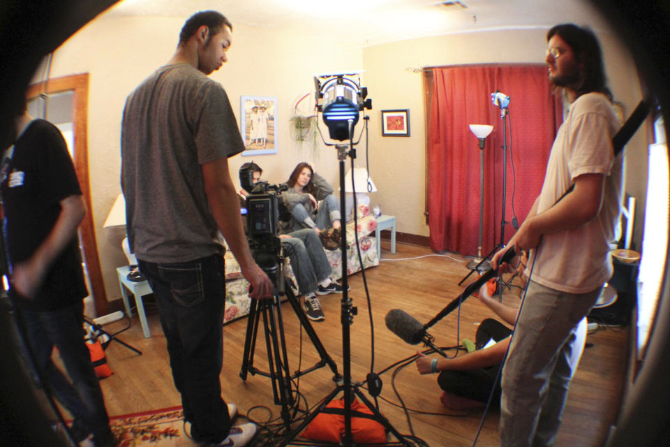 Students from Moore Norman Technology Center shoot a scene from �Helpless,� one of the films to be featured Saturday during the Red Carpet Film Festival in Norman.  Photos provided